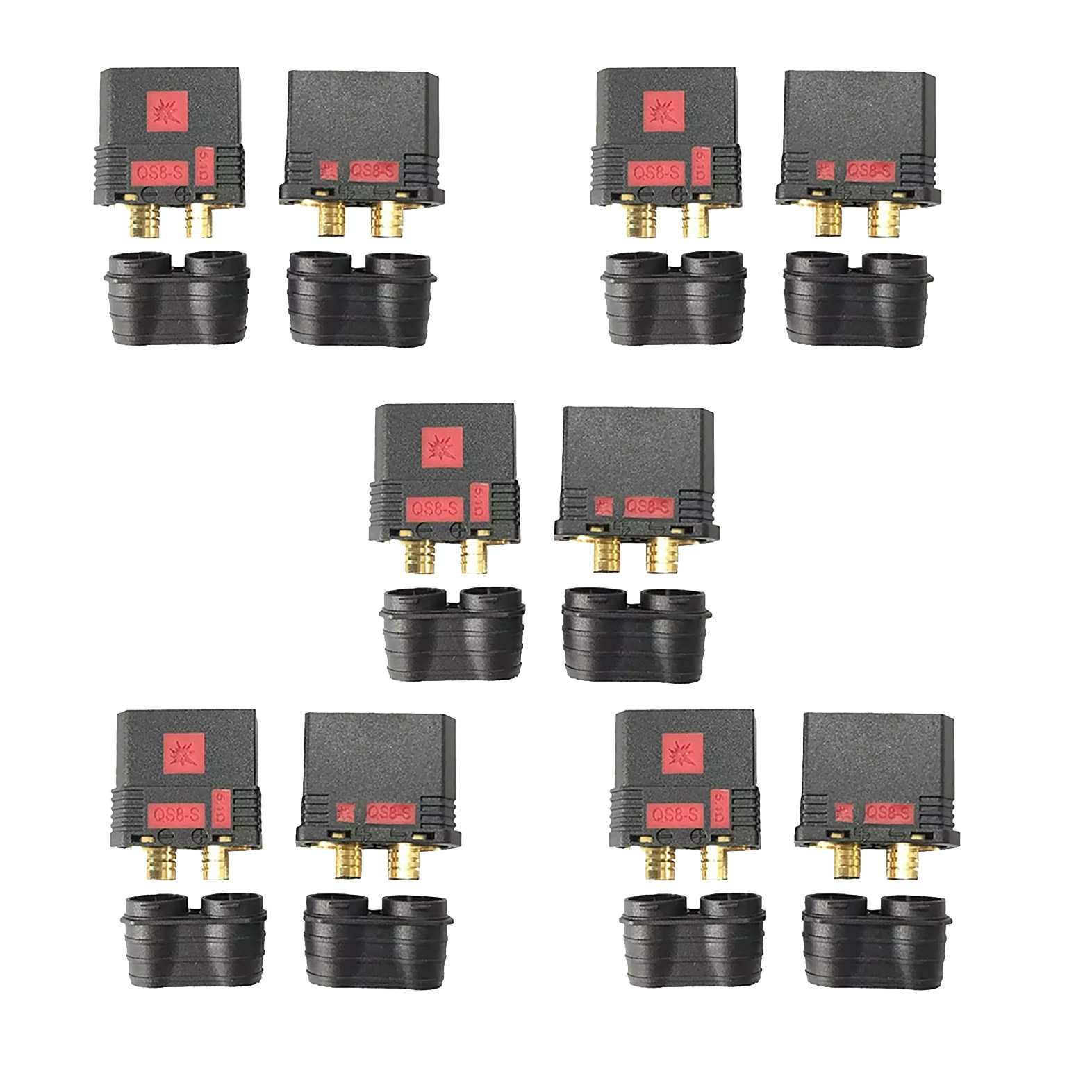 2/5pair QS8-S Heavy Duty Battery Connector Anti-Spark Gold Connector Large Power Plug for RC Plant protection drone Car Model