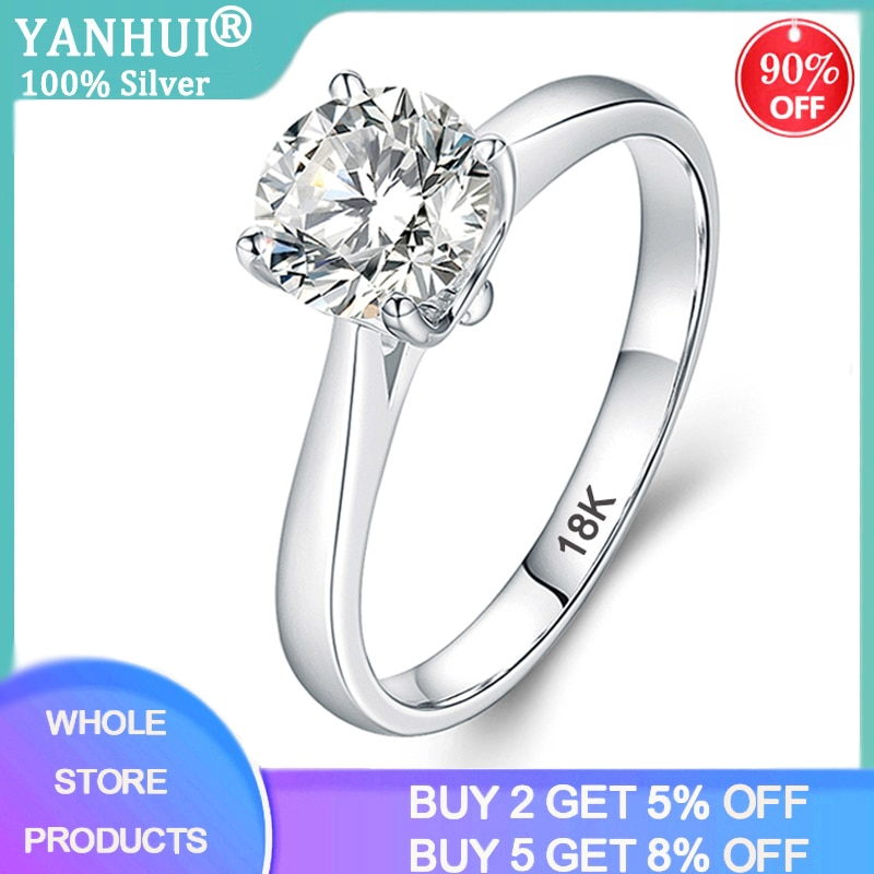 YANHUI With Certificate Luxury 18K White Gold Ring Silver 925 Jewelry Wedding Band For Women 2.0ct Lab Diamond Engagement Rings 95% off with certificate luxury solitaire 2 0ct zirconia diamond ring 925 solid silver 18k white gold wedding rings for women