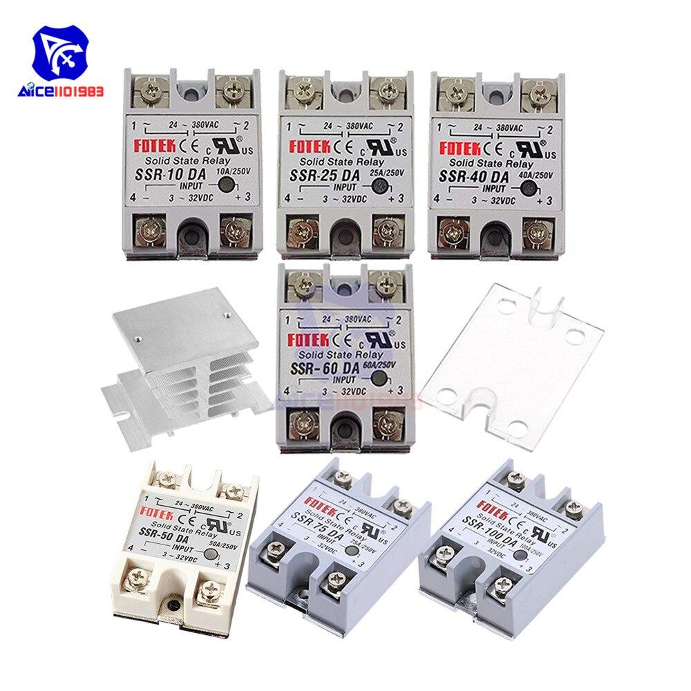 Diymore relé de estado sólido SSR-10DA/25da/40da/50da/60da/75da/100da módulo relé dissipador calor capa protetora
