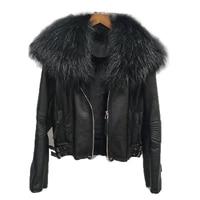 autumn and winter 2020 new skin fox fur collar leather lamb fur integrated fur coat womens short