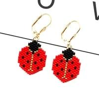 fairywoo red pendientes ladybird drop earrings for women animals big earring jewelry miyuki bead pendant luck earring wholesale
