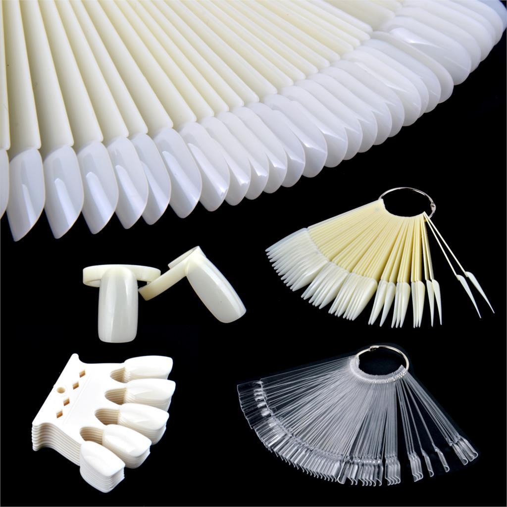 Tarjeta de Color puntas de uñas falsas abanico transparente blanco/Negro/naturaleza/uñas postizas transparentes uñas arte práctica mostrar herramientas de diseño