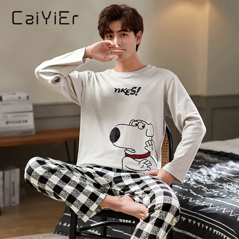 CAIYIER Autumn Winter Men Pajamas Set Cute Cartoon Print Sleepwear Soft Loose O-Neck Male Nightwear Plus Size Lounge Wear M-3XL