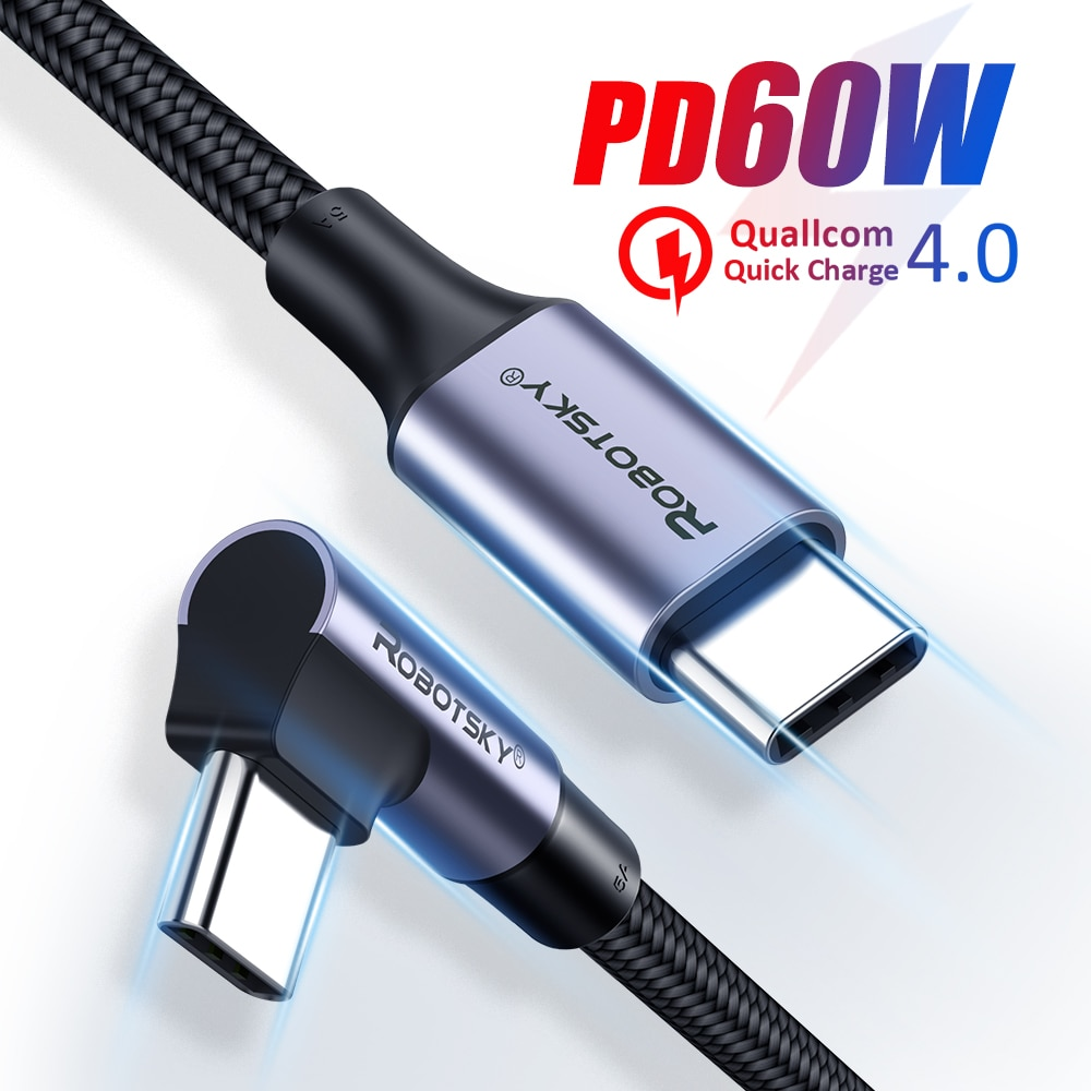 90 Degree Elbow USB Type C to USB C Cable For Samsung Xiaomi Redmi Note 10 8 Macbook 60W Fast Quick