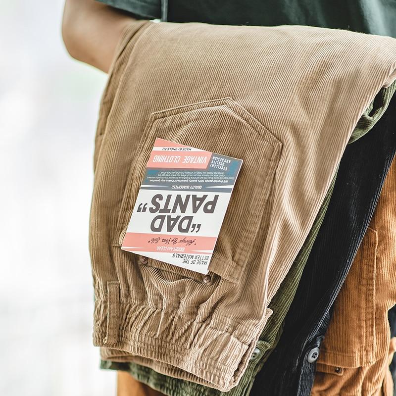 Брюки-карго мужские однотонные, стиль Харадзюку, Коричневые Вельветовые прямые штаны, винтажные повседневные уличные штаны, сафари