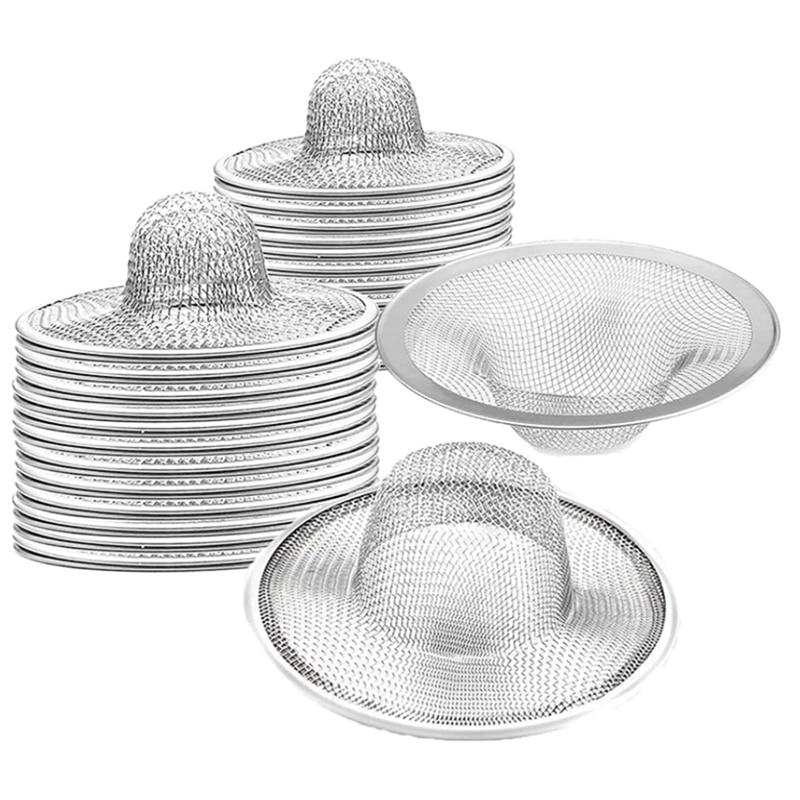 مصفاة شبكية معدنية للحوض ، مثالية لحوض المطبخ/الحمام ، حوض الاستحمام ، فتحة تصريف الأرضية للشرفة (40 قطعة)