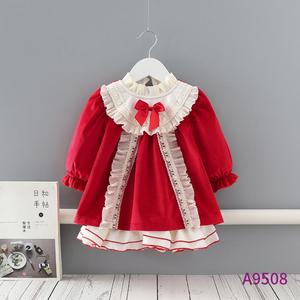 Baby Clothing Spanish Lolita Vintage Velvet Turkey Lace Bow Ball Gown Birthday Party Easter Eid Princess Dress For Girls A43