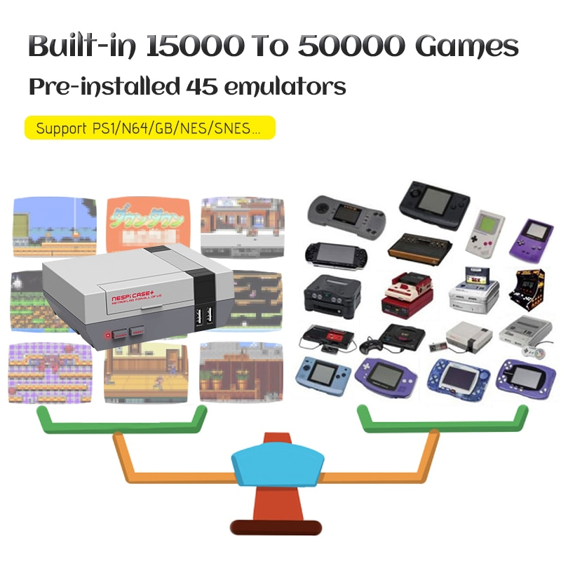 Portable 4K HD TV Video Game Console Recalbox Built-in 50000 Games Raspberry Pi 3B TV Game Console With Dual Controllers For PS1 enlarge