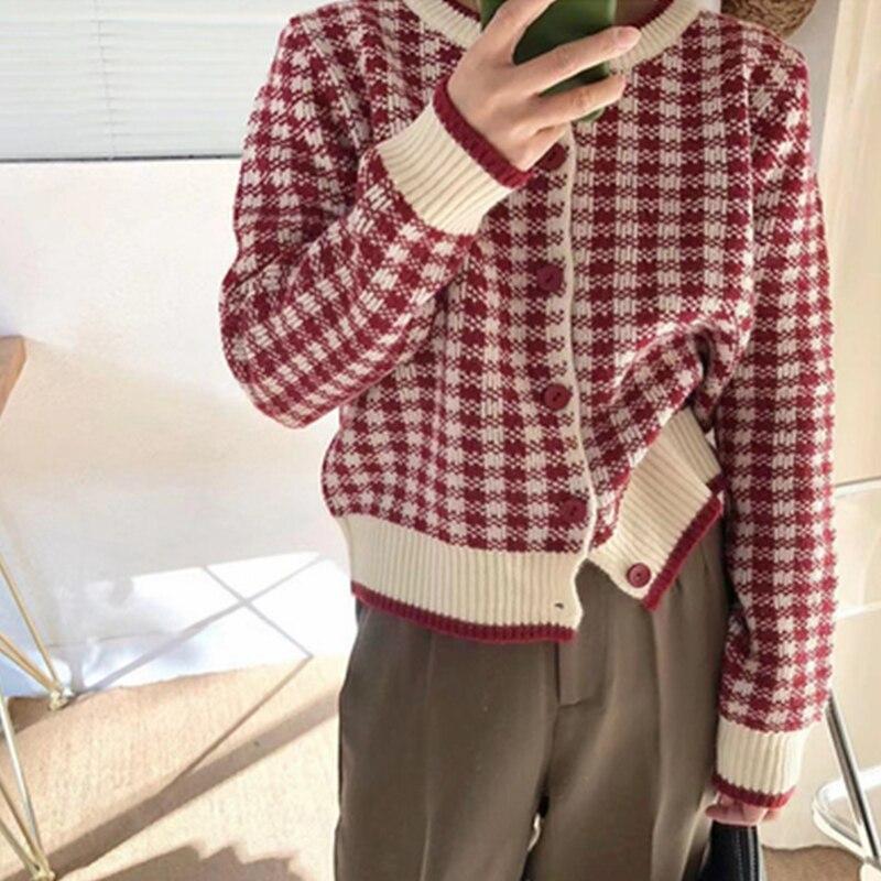 Осенний Новый кардиган в клетку, Свитер, женская модная однобортная трикотажная одежда с круглым вырезом и длинным рукавом, повседневная ун...