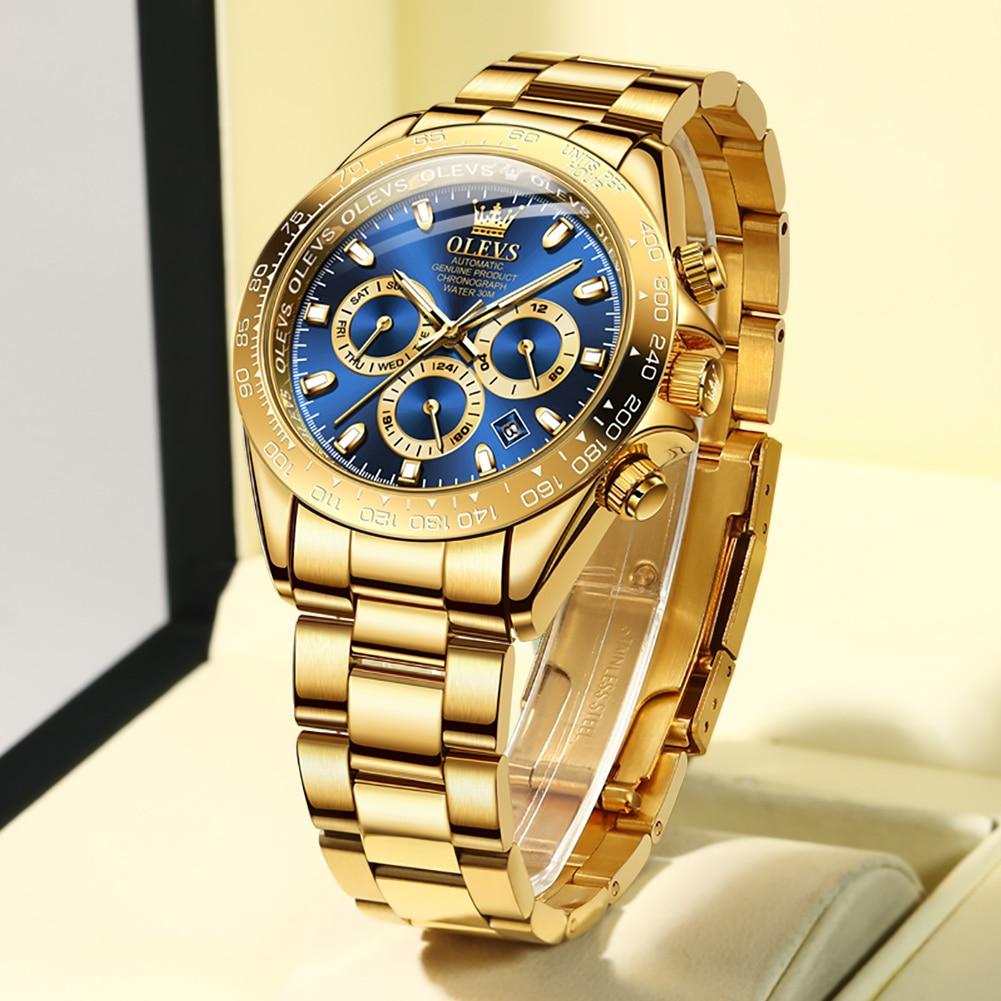 OLEVS العلامة التجارية الفاخرة الذهبي رجالي التلقائي ساعة ميكانيكية 50 متر مقاوم للماء الفولاذ المقاوم للصدأ حزام خدش الرجال ساعة اليد
