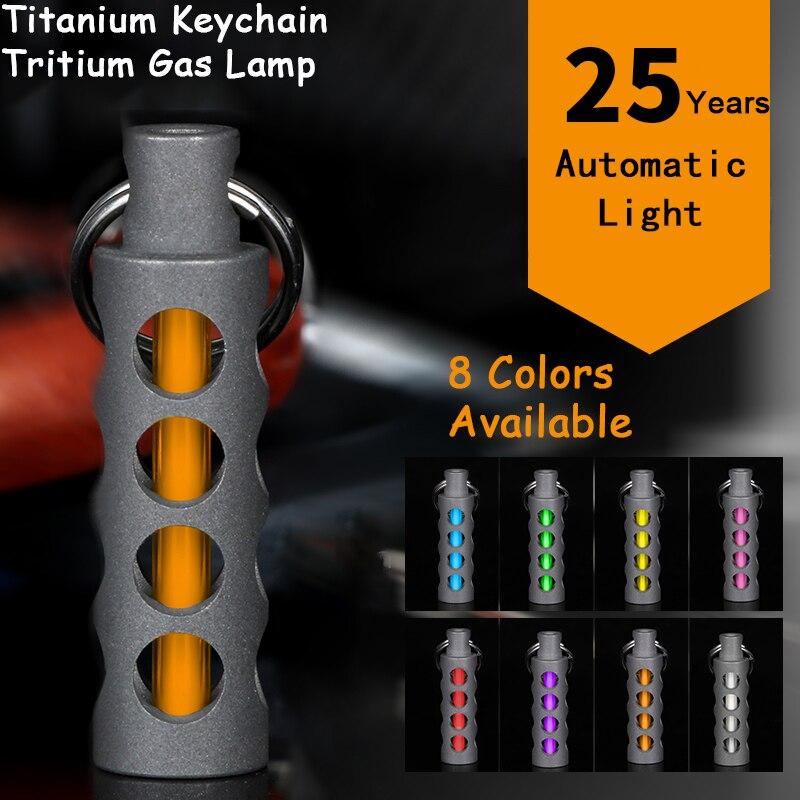 Lámpara de Gas de Tricio EDC al aire libre luz automática 25 años de aleación de titanio llavero tubo fluorescente salvavidas luces de emergencia