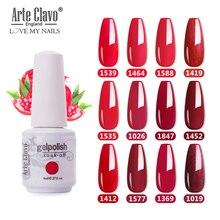 Arte Clavo 8ml Red Color Serie Gel Lacquer Long Lasting Gel Paint Nail Art DIY Design Top Gel Polish