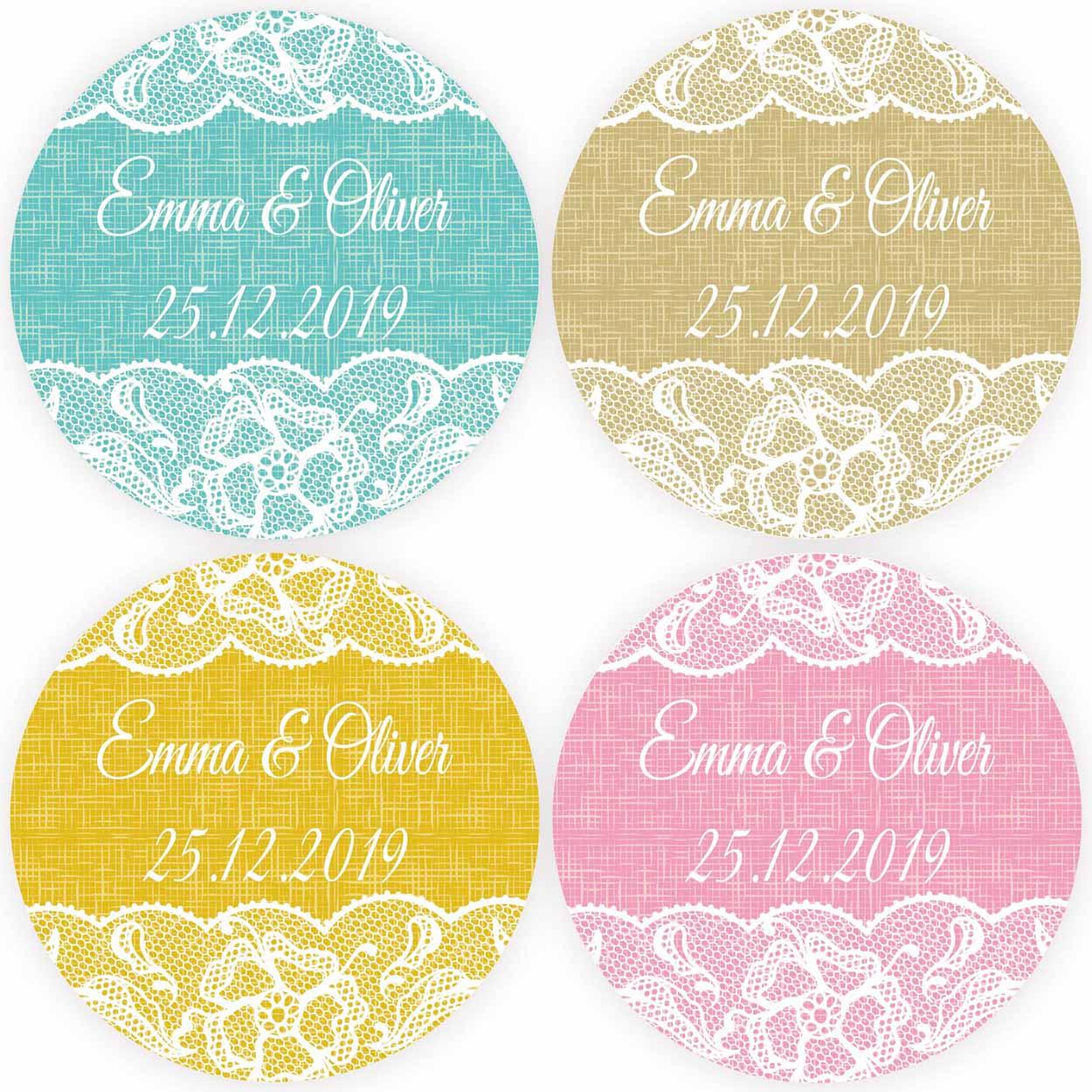 DouxArt, 100 piezas, pegatinas personalizadas de favores de la boda, 4 CM, Fiesta de matrimonio, sellos de bautismo de comunión, etiquetas, agregar nombres y fechas
