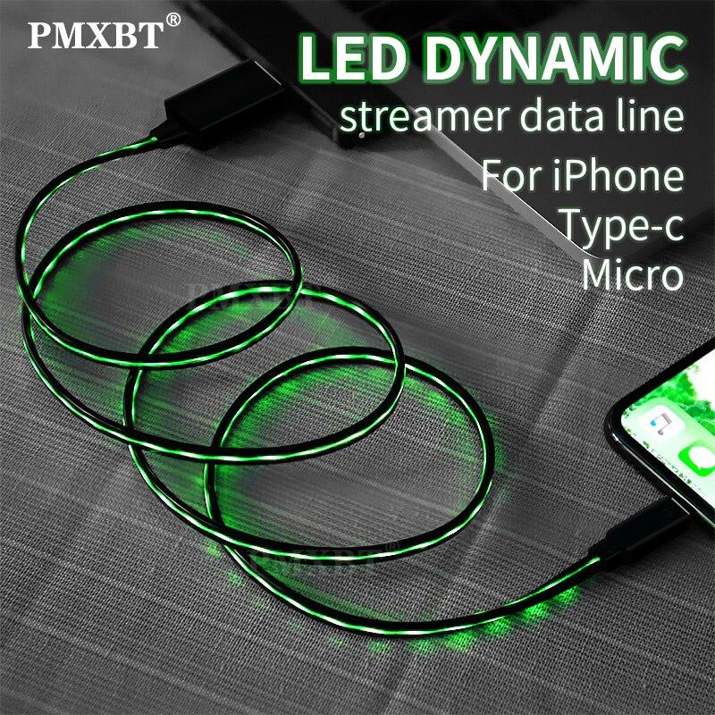 LED Glow Fließende USB Ladegerät beleuchtung Kabel Für Samsung s10 A50 Huawei Xiaomi MI9 Typ C Micro USB Handy lade Daten Draht