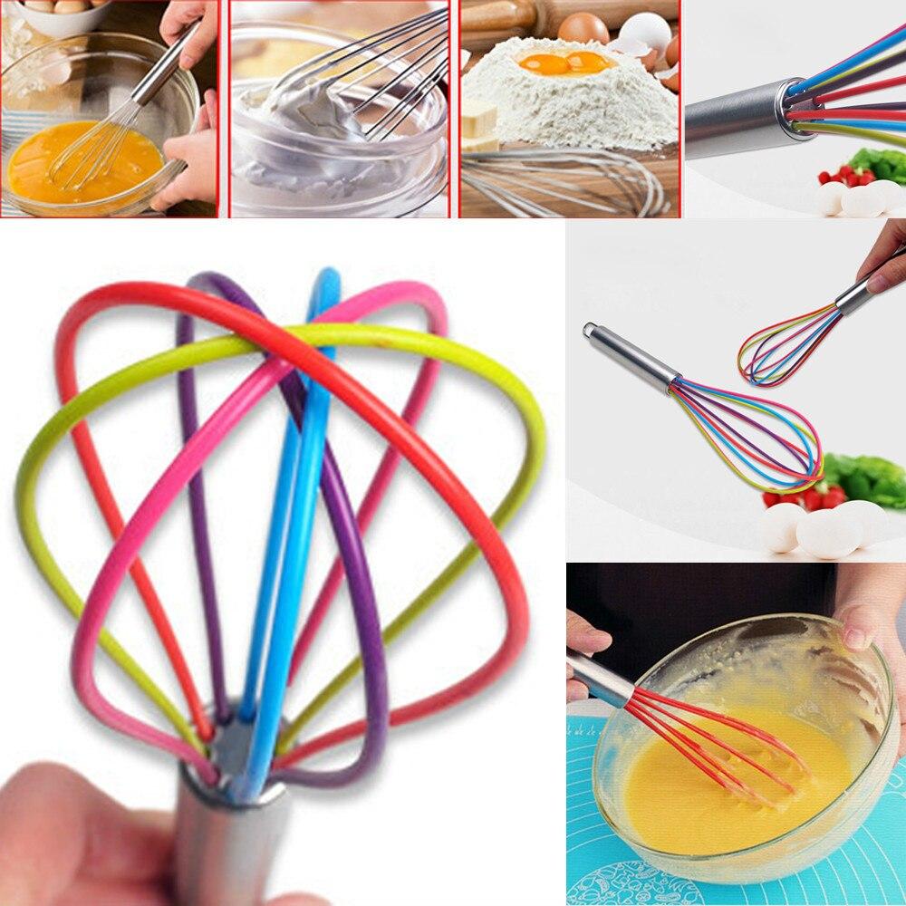 Batidor de silicona Premium para cocina con batidor de silicona antiadherente resistente al calor utensilio de cocina Multicolor batidor de huevos cuerda #30