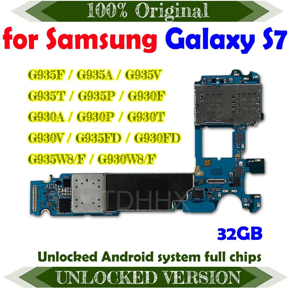 Placa base Original de 32GB para Samsung Galaxy S7 edge G935F G935A G935V G935T G935P G930F G930A G930P G930T G930V G935FD G930FD