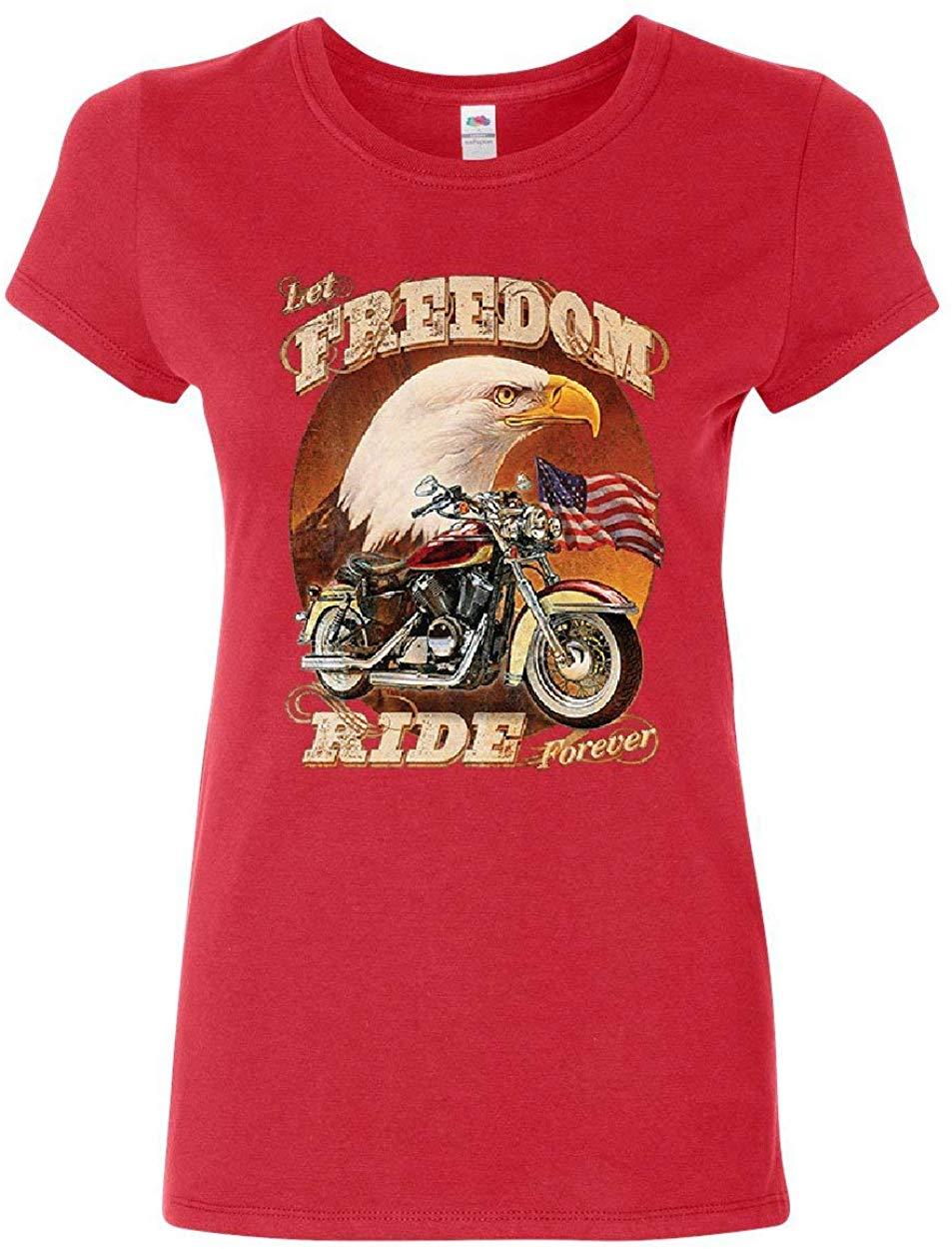 Camiseta Let Freedom Ride Forever para mujer, camiseta de motorista con bandera americana, águila calva, camiseta unisex para hombre y mujer