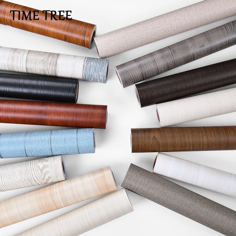 PVC impermeable espesar grano de madera auto-adhesivo arte de papel resistente al calor pegatinas de pared armario de dormitorio papel pintado casa Decoración