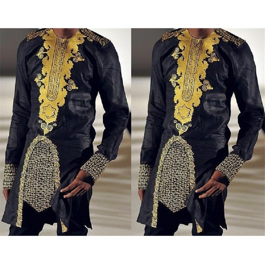 Última Moda Africana ropa hombre estampado dorado camiseta manga completa verano casual vestidos o-cuello Irregular África camisas