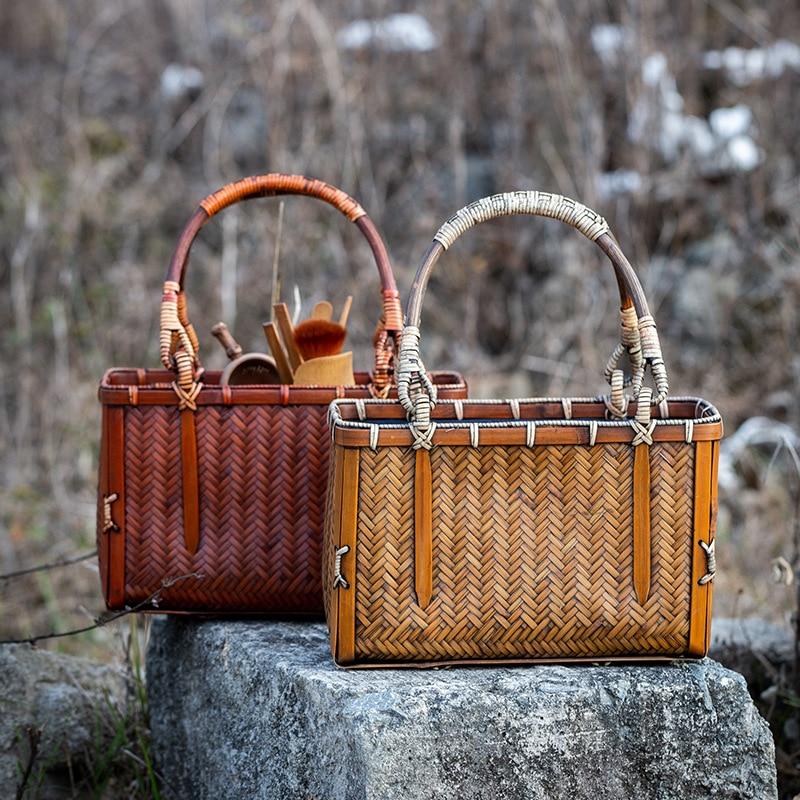 Vintage Hand-woven Rattan Bag High Quality Handmade Bamboo Handbag Women Retro Tote Bag Ladies Travel Beach Bags Femininas