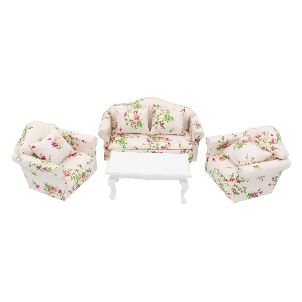 Casa da boneca miniaturas móveis sala de estar conjunto floral sofá sofá mesa final kits 112