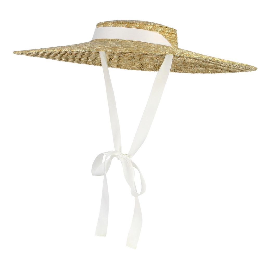 2021 Womens Summer Hats New Large Brim Straw Hat For Women Beach Cap Flat Top Sun summer hat for women