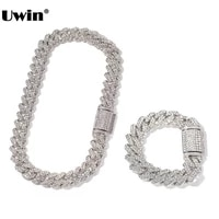 uwin 18mm zinc alloy miami cuban chain necklacebracelet set for men iced out bling rhinestones hip hop jewelry drop shipping