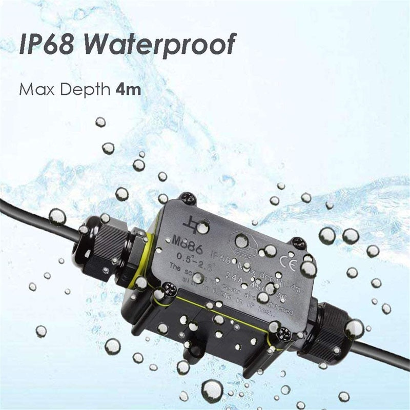 10 pieces a lot electrical plastic junction box waterproof electrical junction box 166 166 91 mm 6 5 6 5 3 6 inch IP68 Waterproof Junction Box 2 Way 3pin 6-12mm Gland Electrical Junction Box 24A 450V Sealed Retardant Outdoor Connector