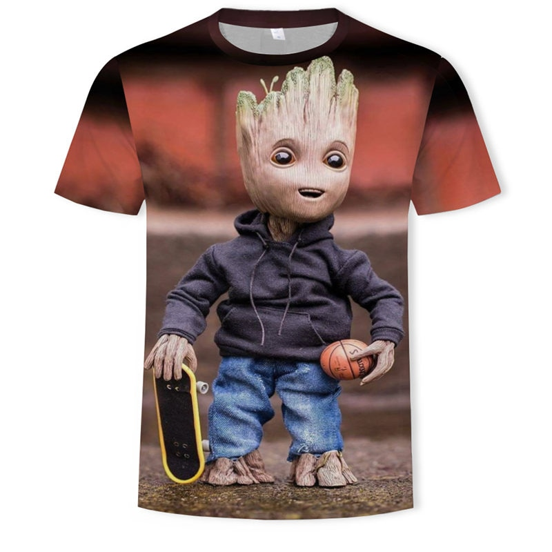 Camiseta Groot 3D para hombre, ropa a la moda de los vengadores, camiseta de manga corta informal de verano para hombre, camisetas y camisetas con estampado de dibujos animados de marca 2018