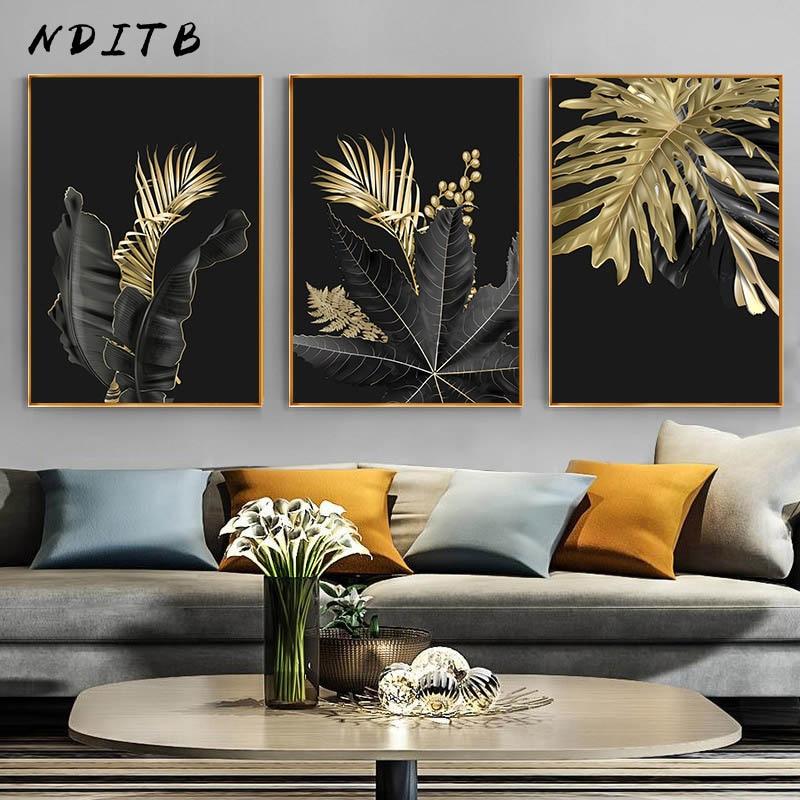 Hoja de planta dorada, lienzo abstracto, pintura de arte, cartel nórdico, impresión en blanco y negro, cuadro de pared minimalista, decoración para sala de estar moderna