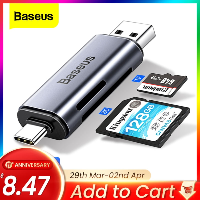 Baseus 2 in 1 Card Reader USB 3.0 &USB Type C to SD Micro SD TF Card Reader OTG Adapter Smart Memory Microsd Cardreader For iPad