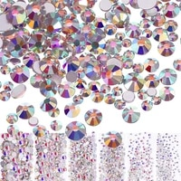 artracyse 1440 pieces nail crystals ab nail art rhinestones round beads mixed flat bottom glass charms gemstones 6 sizes