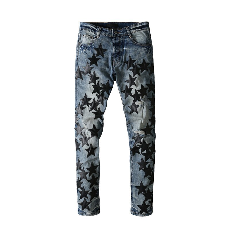 American Famous Brand AMR Five-pointed Star Patch Washed Vintage Ripped Jeans Men Trousers Men's Pants Streetwear
