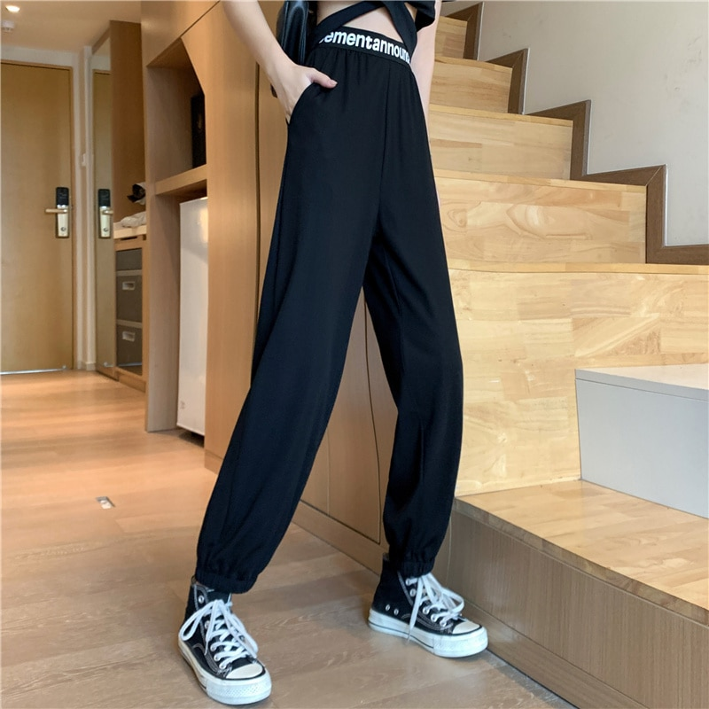 Real Shot Autumn New Loose Tappered Casual Pants for Women
