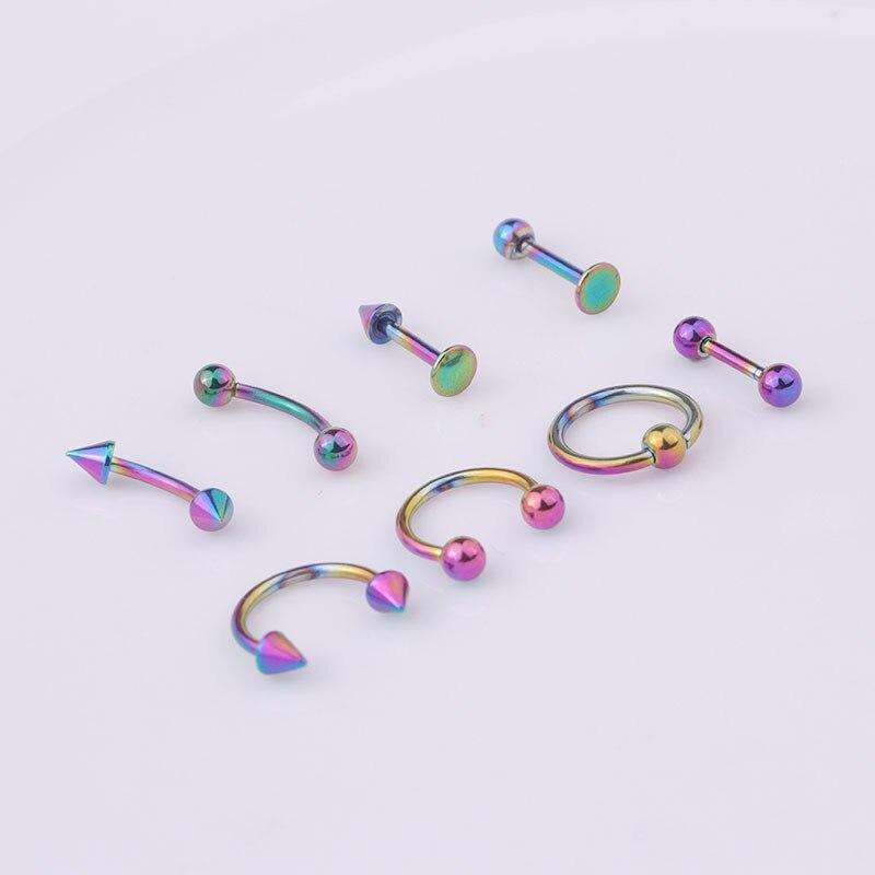 8 PCS Mix Simple Stainless Steel Piercing Circle Cuff Ear Jewelry Women Men Trendy Double Side Ball Arrow Bar Round Earring Set