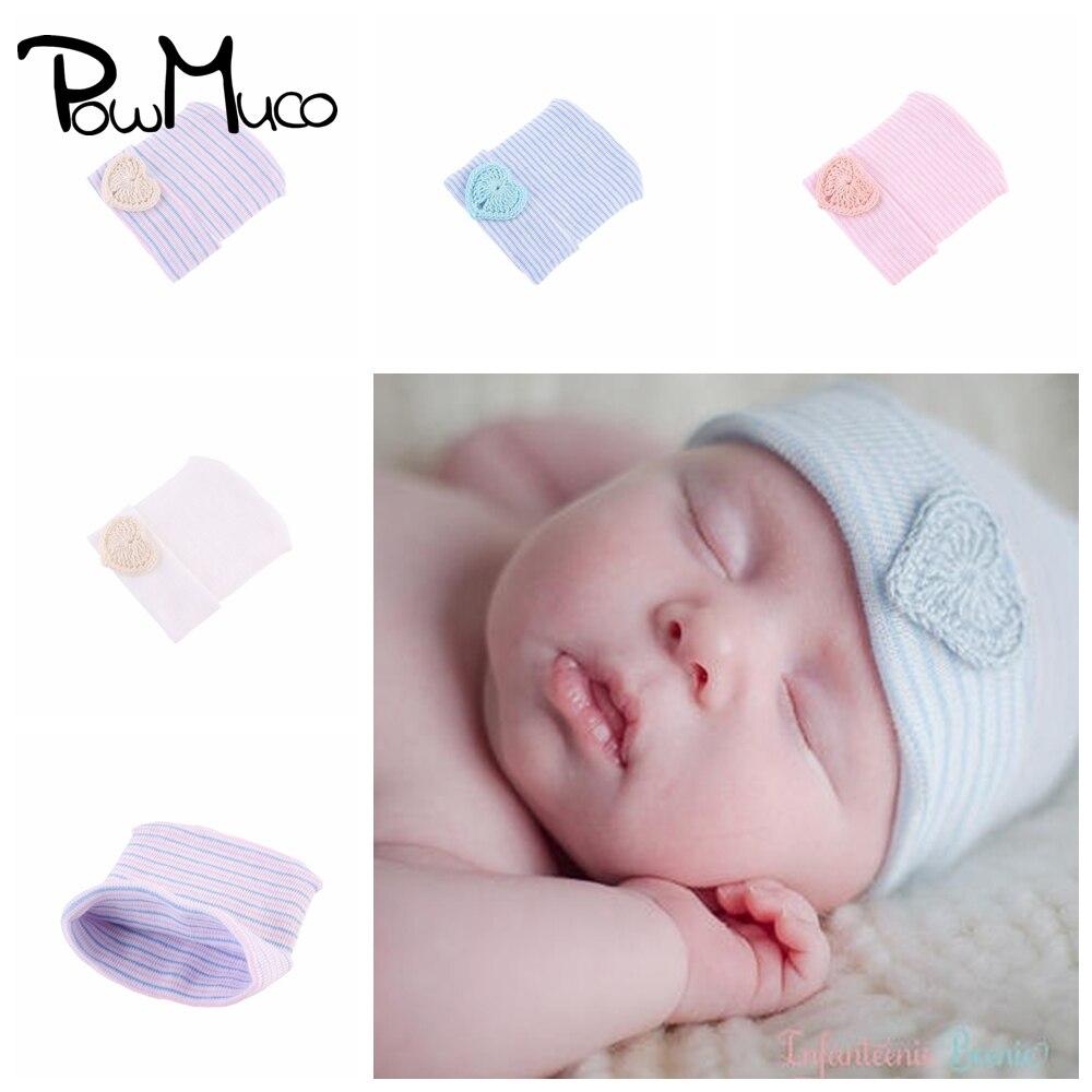 Powmuco 11*9 CM Fashion Striped Baby Girls Hats Handmade Knitted Heart-shaped Infant Caps Newborn He