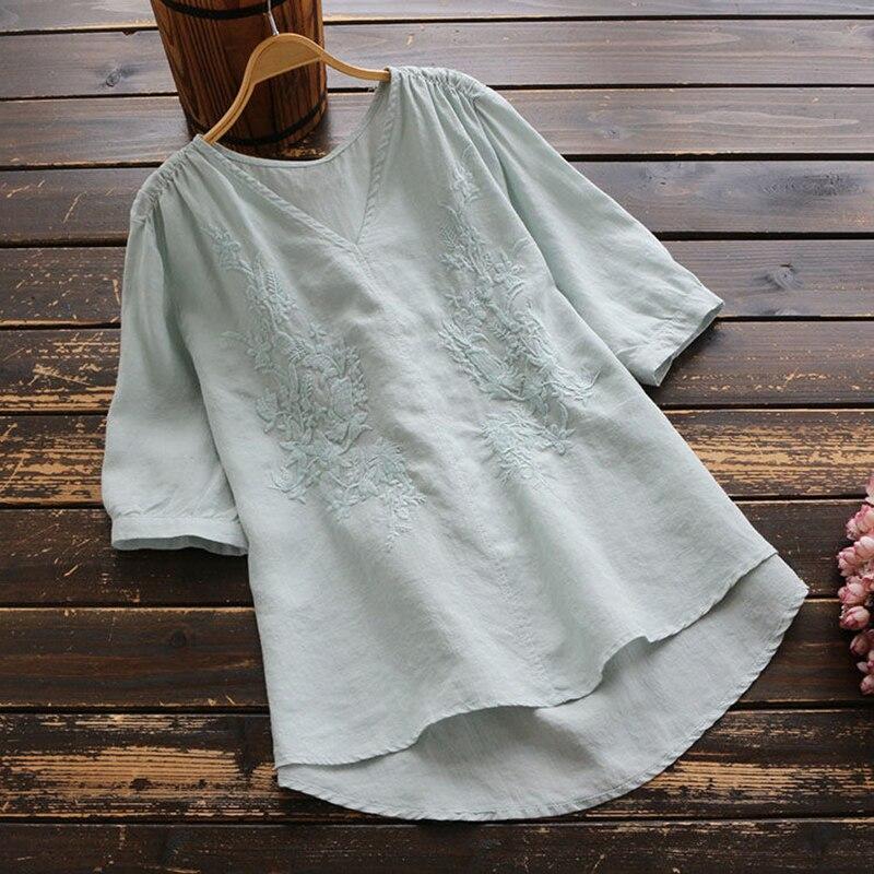 Blusa mujer de talla grande Vintage bordado algodón camisa de lino señoras blanco cuello en V elegante Casual