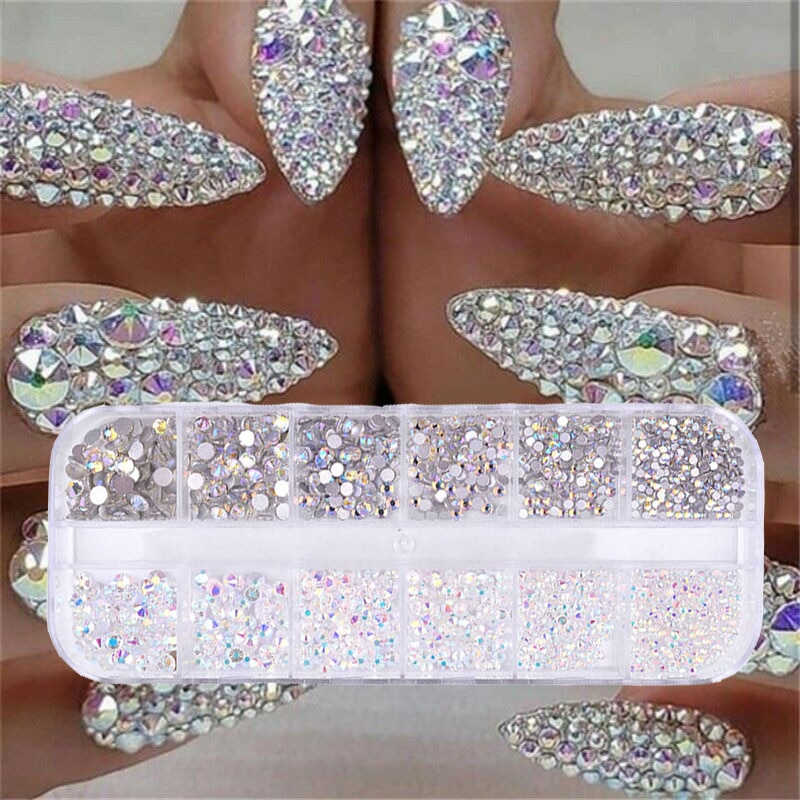 12 boxes / set of AB crystal rhinestone diamond gem 3D glitter nail art decoration beauty