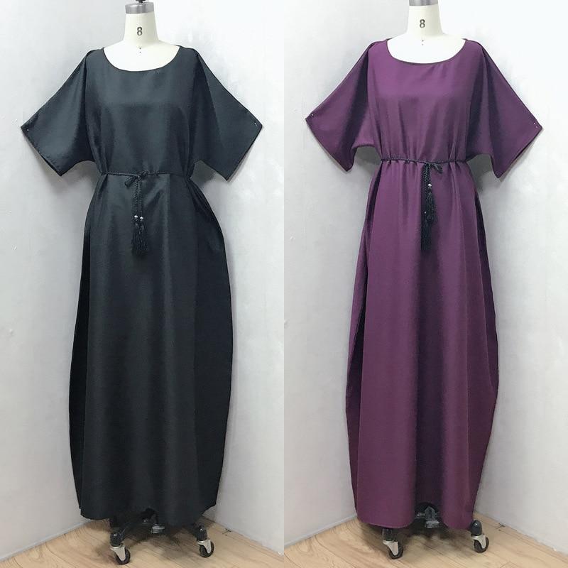 Solid Black Islamic Muslim Abaya Dubai Women Muslim Fashion Maxi Dress Hijab Dress India American Clothing Turkey Caftan