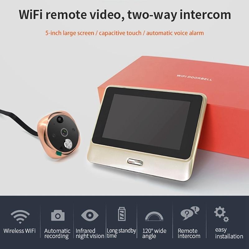 5 Polegada wi fi digital porta espectador olho mágico câmera ir visão noturna movimento gravação de vídeo campainha detectar app intercom visor da porta