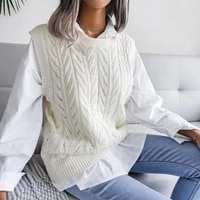 chifirena pull women vest knit tops hollow out vests for women sleeveless knitted fall waistcoat vintage oversize sweater vest