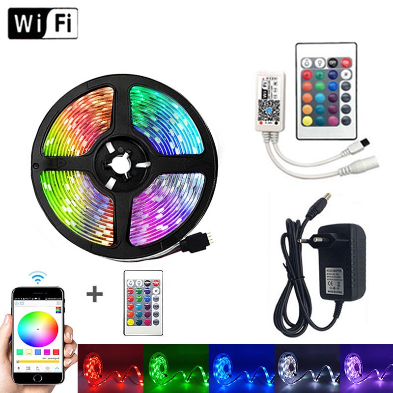 Tira de luz LED WiFi 10M RGB 2835 SMD 5050 cinta Flexible impermeable RGB luz LED 5M 15M cinta diodo WiFi control remoto
