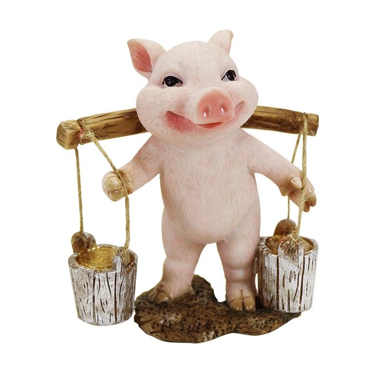Simulação porco tijolo carrinho porco luta porco resina decoração artesanato inspiração idéias de presente decoração para casa fada jardim miniatura