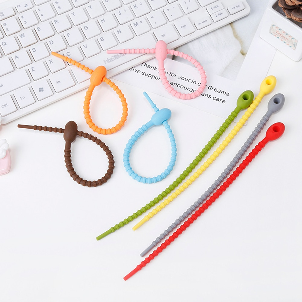 2PCS Adjustable Silicone Ties Cord Data Cable Storage Soft Tape Cable Winder Desktop Organizing Tool Office Accessories Supplies