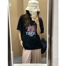 Casual Printed T-shirt Women's Korean Loose Black Short Sleeve Top Fashion 2021 New Product