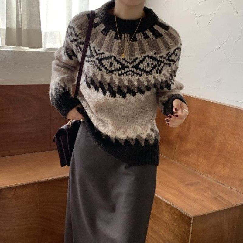 Suéteres cortos bonitos para mujer, estilo Preppy Alien Kitty, gruesos, sueltos, para estudiantes, nuevos suéteres cálidos, frescos, suaves, para todos los partidos