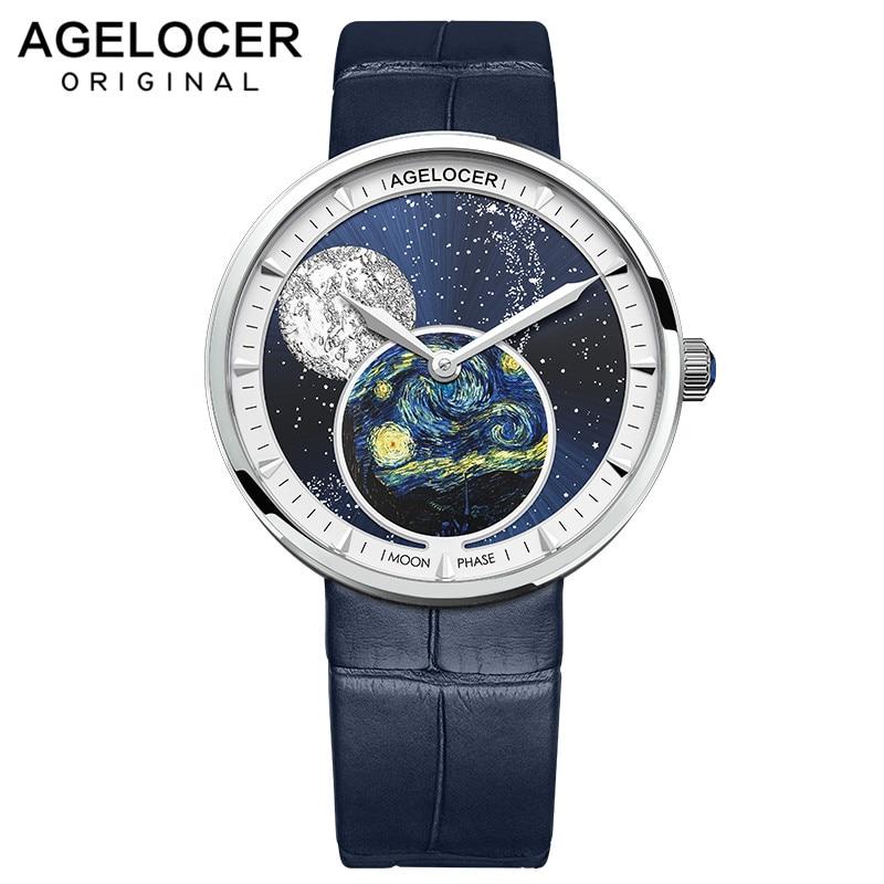 AGELOCER Moon Phase-ساعة نسائية ، كوارتز ، تصميم Moonphase ، ماركة فاخرة ، كريستال ياقوتي ، فولاذ 316L
