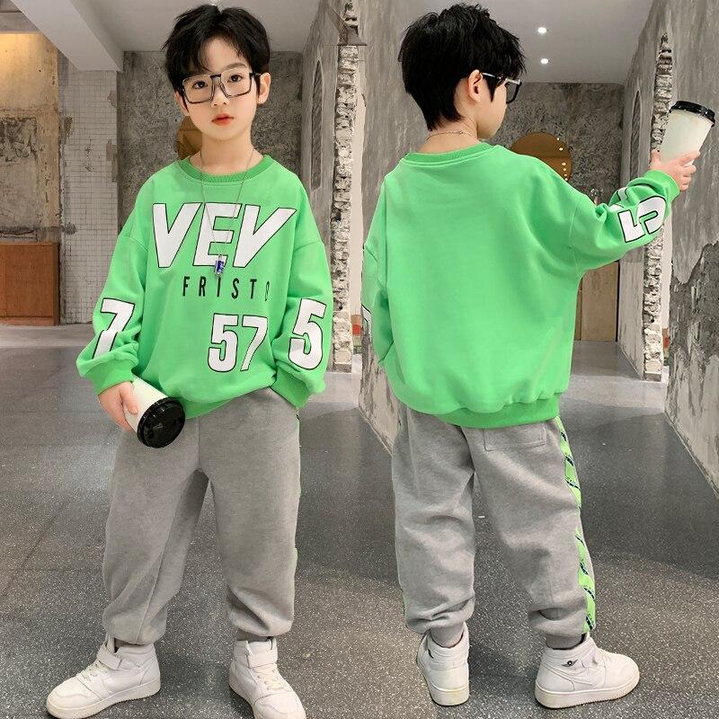 Spring Autumn Sweater Pants Suit Clothing Sets Children Birthday Suit Boys Kids Outdoors Sport Suits Hoodies Top +Pants 2PCS/SET