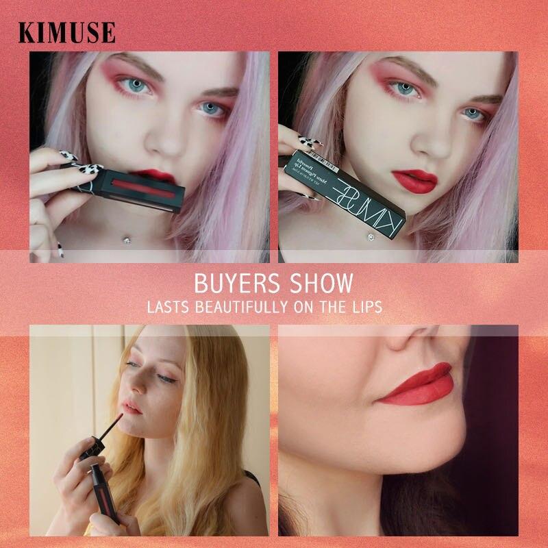 Kimuse Muse-esmalte de labios mate, brillante, de larga duración, antimanchas, desarrollo de color e hidratante, lápiz labial de terciopelo
