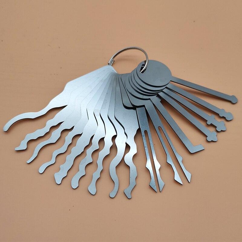 Llave Jiggler de acero inoxidable de 16 Uds. Herramienta de reparación de llaves y abridor